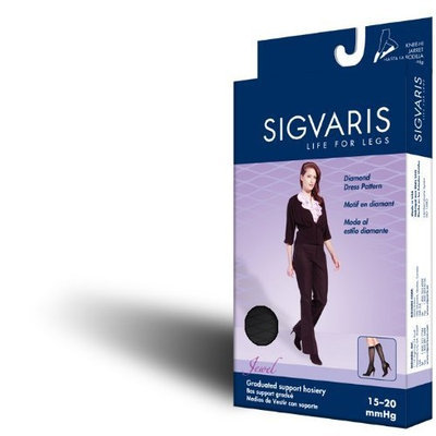 Sigvaris Jewel 15-20 mmHg Closed Toe Knee High Sock Size: C (10-12), Color: Mocha 85