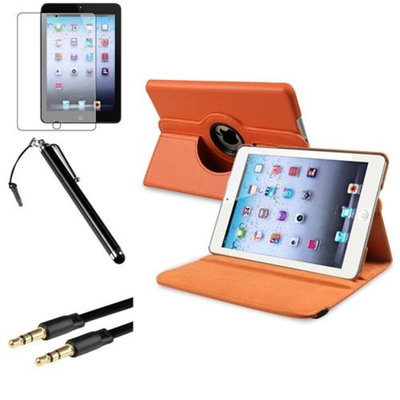 Insten iPad Mini 3/2/1 Case, by INSTEN Orange 360 Leather Case Cover+Matte Protector+Cable for iPad Mini 3 2 1