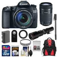 Canon EOS 70D Digital SLR Camera & EF-S 18-135mm IS with 55-250mm IS STM & 500mm Lenses + 32GB Card + Battery + Backpack + Filters + Monopod + Kit
