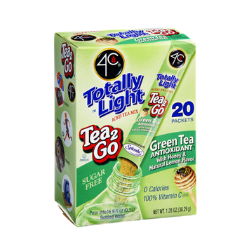 4C Totally Light Sugar Free Tea 2Go Green Tea Antioxidant with Honey & Natural Lemon Flavor Drink Mix - 20 CT