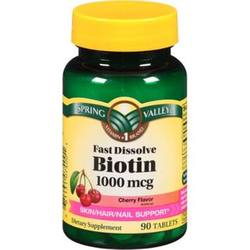 Spring Valley Cherry Flavor Fast Dissolve Biotin Dietary Supplement Tablets, 1000mcg, 90 count