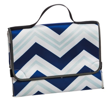 Gifted Living Blue Chevron Diaper Changing Pad And Bag