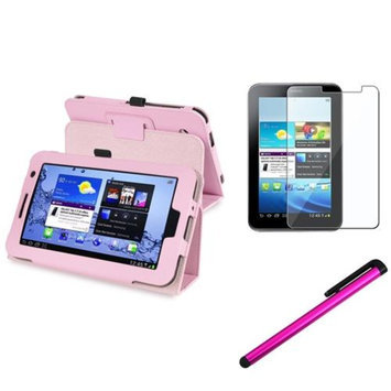 Insten INSTEN Pink Folio PU Leather Case Cover Stand For Samsung Galaxy Tab 2 7.0