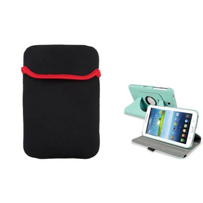 Insten INSTEN Baby Blue 360 Leather Case+Tablet Sleeve Pouch For Samsung Galaxy Tab 3 7.0 inch