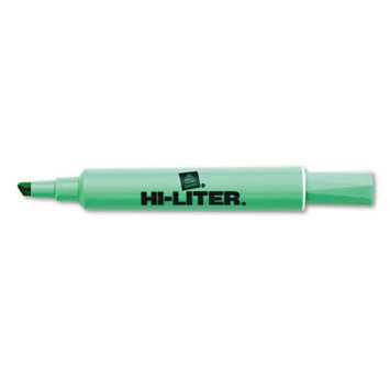 Hi-liter HI-LITER Desk Style Highlighter, Chisel Tip, Light Green Ink, 1 Dozen