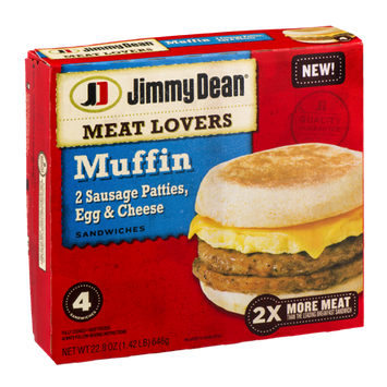 Jimmy Dean Meat Lovers Muffin Sandwiches - 4 CT