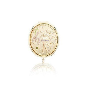 Welforth Gold Music and Ballerina Design Metal Compact Mirror (M-118)