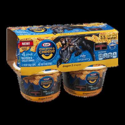 Kraft Macaroni & Cheese Dinner Dragon 2 Shapes Cups - 4 CT