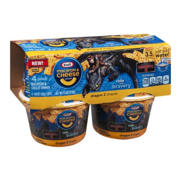 Kraft Macaroni & Cheese Dinner Dragon 2 Shapes Cups - 4 CT