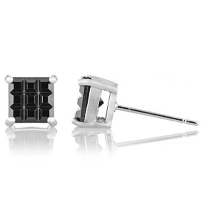 Emitations Dallas' Checkerboard Square Cut Stud Earrings
