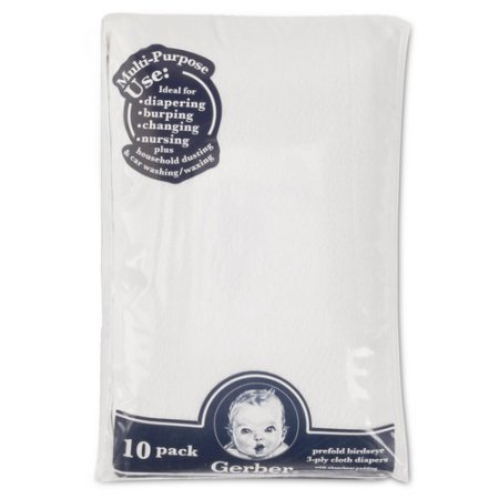 Gerber® Prefold Birdseye 3-Ply Cloth Diapers with Absorbent Padding