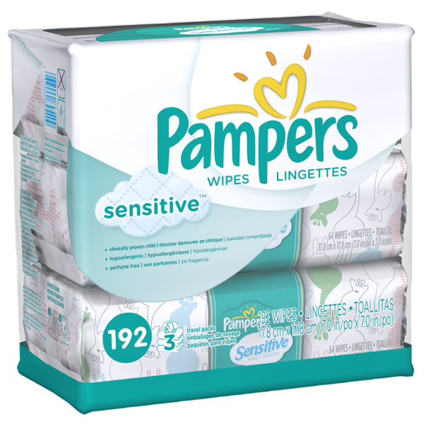 Pampers Sensitive Wipes 3x Travel Pack 192 Count