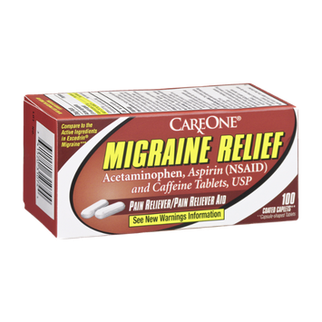 CareOne Migraine Relief Coated Caplets Pain Reliever - 100 CT