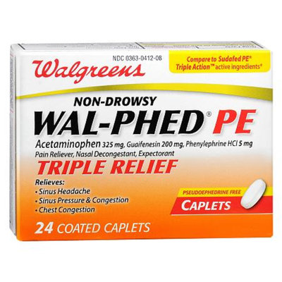 Walgreens Wal-Phed PE Triple Relief Pain Reliever Caplets, 24 ea