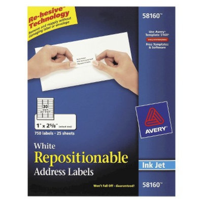 Avery 1 x 2 5/8 Re-hesive Inkjet Labels- White (750 per Pack)