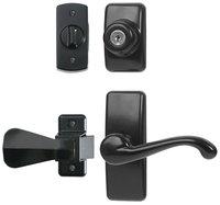 Ideal Security Inc. Deluxe Storm and Screen Door Lever Handle and Keyed Deadlock in Black HK01-I-061