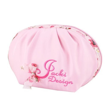 Jacki Design ABC38021PK Bella Rosa Top Round Cosmetic Bag Pink
