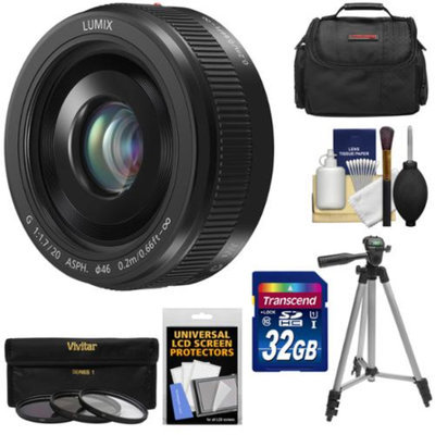 Panasonic Lumix G Vario 20mm f/1.7 II ASPH Lens (Black) with 32GB Card + 3 UV/ND8/CPL Filters + Case + Tripod + Accessory Kit for G Series Digital Cameras