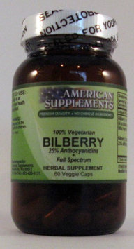 Bilberry No Chinese Ingredients American Supplements 60 VCaps