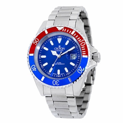 Croton Men's Stainless Steel Diver Watch, Blue, 1 ea
