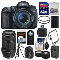 Canon EOS 7D Mark II GPS Digital SLR Camera & EF-S 18-135mm & 70-300mm IS USM Lens with 64GB Card + Backpack + Battery/Charger + Tripod + 2 Lens Kit