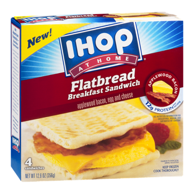 IHOP At Home Flatbread Breakfast Sandwich Applewood Bacon, Egg & Cheese - 4 CT