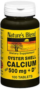 Nature's Oyster Shell Calcium Plus D3 Tablets, 500 mg, 100 Tabs by Natures Blend