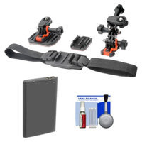 Vivitar Essentials Bundle for Contour+ 2 Action Camcorder with Helmet & Flat Surface Mounts + Battery + Cleaning Kit