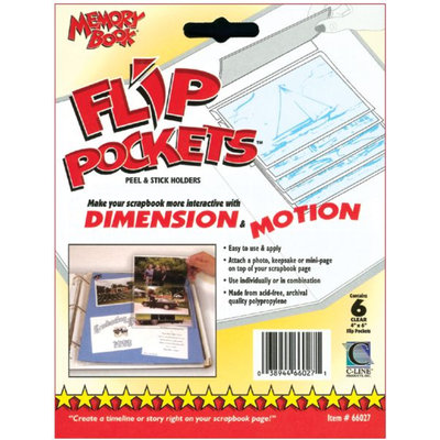C-line C-Line 66027 Flip Pockets Peel & Stick Holders 6/Pkg