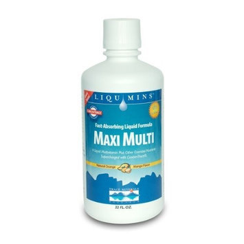 Trace Minerals Research Liqumins Maxi Multi Liquid Multivitamin and Mineral Supplement with Ionic Minerals from Concentrate, Natural Orange Mango Flavor, 32-Ounce Bottle