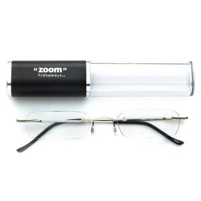 Zoom Eyeworks Zoom Light-weight and Contemporary Half-Eye Metal Hideaway Reader, Black, +2.50