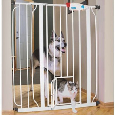 Carlson Pet Products CARLSON HARDWARE PET GATES 916040 Carls Walk Through Gate with Pet Door, 42-Inch, Wide