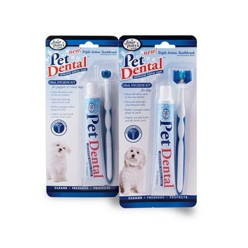 Four Paws Pet Products Triple Action Toothbrush Kit