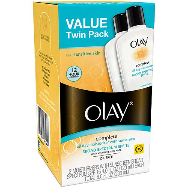 Olay Complete All Day Moisturizer with Sunscreen for Sensitive Skin, 4 fl oz, 2 count