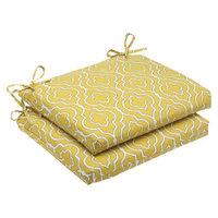Pillow Perfect Outdoor 2-Piece Square Edge Seat Cushion Set - Yellow/White Starlet