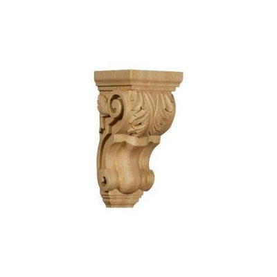 Ekena Millwork 4.5-in x 10-in Red Oak Acanthus Wood Corbel