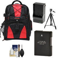 Precision Design Multi-Use Laptop/Tablet Digital SLR Camera Backpack Case (Black/Red) with EN-EL14 Battery & Charger + Tripod + Accessory Kit for Nikon D3100, D3200, D5100 & D5200