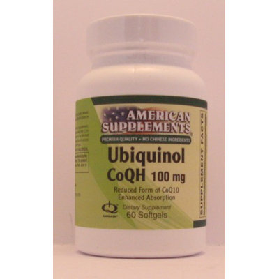 Ubiquinol CO QH 100 MG No Chinese Ingredients American Supplements 60 Softgel