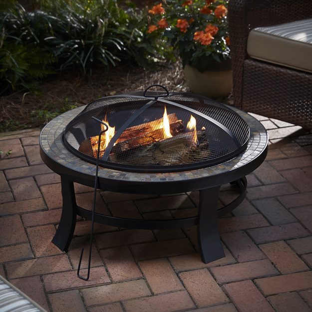 Bbq Pro BBQ Pro 30in Round Firepit with Slate Tile Top - TAIWAN NAN SHAN BAMBOO WARE CO