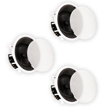 Theater Solutions New 8 In Ceiling HD Home Theater Glass Fiber Angled 3 Speaker Set 1200 Watt 3TSS8A