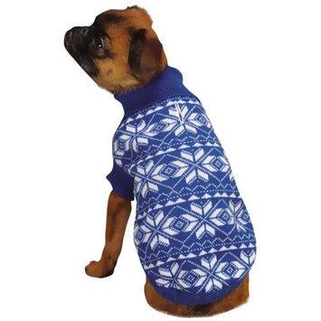Pet Edge Dealer Services ESC Blue Holiday Snowflake Dog Sweater Large