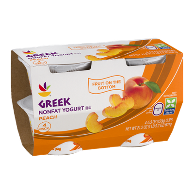 Ahold Greek Nonfat Yogurt Peach - 4 CT
