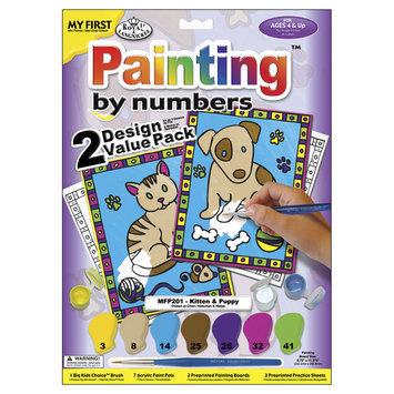 Royal Brush 422092 My First Paint By Number Kit 8.75 in. x 11.38 in. 2-Pkg-Kitten & Puppy