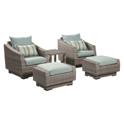 RST Outdoor Cannes 5-Piece Wicker Patio Chat Furniture Set - Blue