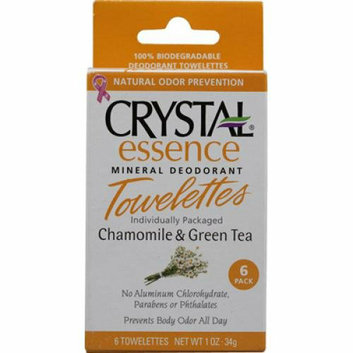 Crystal Essence Mineral Deodorant Towelettes Chamomile and Green Tea 6 Towelettes