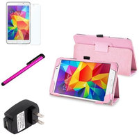 Insten INSTEN Pink Leather Stand Case+Protector Stylus For Samsung Galaxy Tab 4 7.0 7