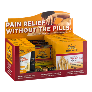 Tiger Balm Display - Pain Relieving Patch/Pain Relieving Ointment Ultra Strength Sports Rub/Neck & Shoulder Rub Pain Relieving Cream - 14 CT