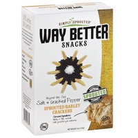 Simply Sprouted Way Better Snacks Salt & Cracked Pepper Sprouted Barley Crackers, 5 oz, (Pack of 12)