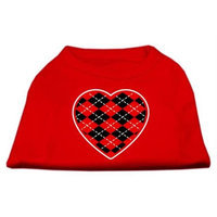 Mirage Pet Products 51-111 XSRD Argyle Heart Red Screen Print Shirt Red XS - 8