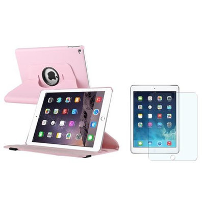 Insten iPad Air 2 Case, by INSTEN Light Pink Multi Viewing Stand Leather Pouch+Anti-Glare Protector for Apple iPad Air 2nd Gen